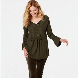 J Jill Embroidered Peasant Blouse